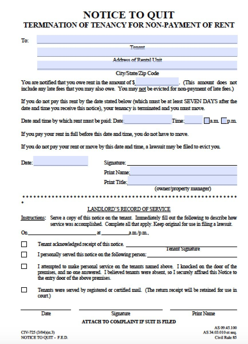 Free Alaska Seven 7 Day Notice to Quit NonPayment of Rent – 30 Eviction Notice Form