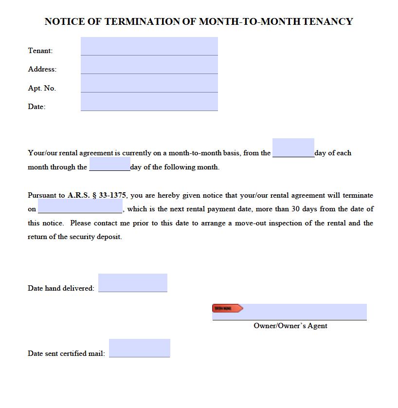free arizona 30 day notice to quit