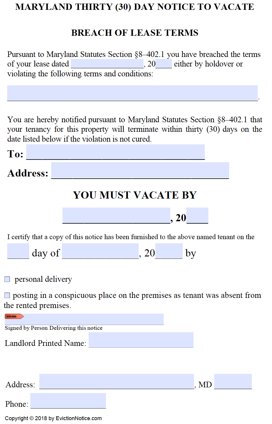 Maryland-30-Day-Notice-to-Comply-or-Quit-Non-Compliance  Day Eviction Letter Template on for texas, due disturbing neighborhood,