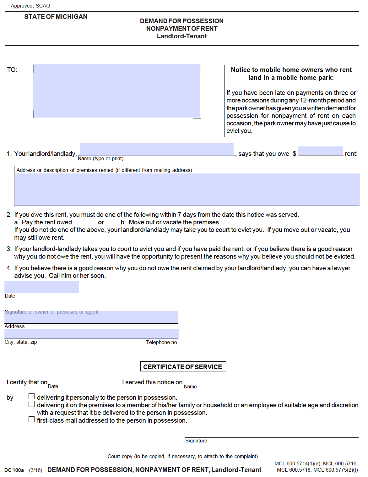 free michigan 7 day notice to pay or quit