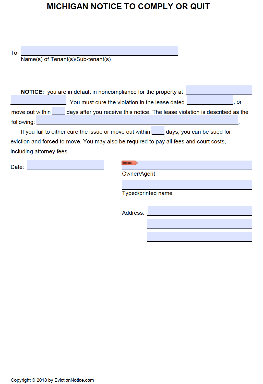 free michigan notice to comply or quit