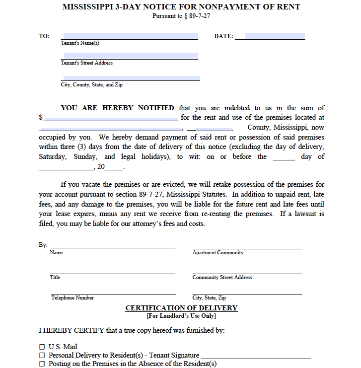 free mississippi 3 day notice to pay or quit non payment of rent pdf