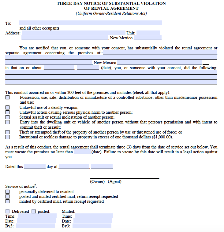 Free New Mexico 3 Day Notice For Substantial Violation Of Rental