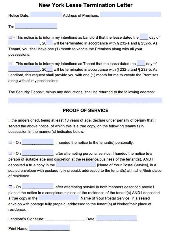 free new york lease termination letter month to month tenancy pdf