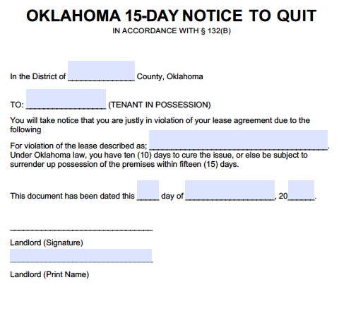 Free oklahoma eviction notices immediate 5 7 15 and 30 day notice types thecheapjerseys Image collections