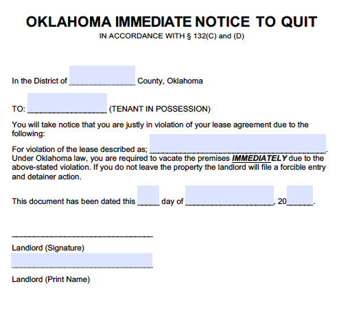 Free Oklahoma Immediate Notice To Quit Pdf