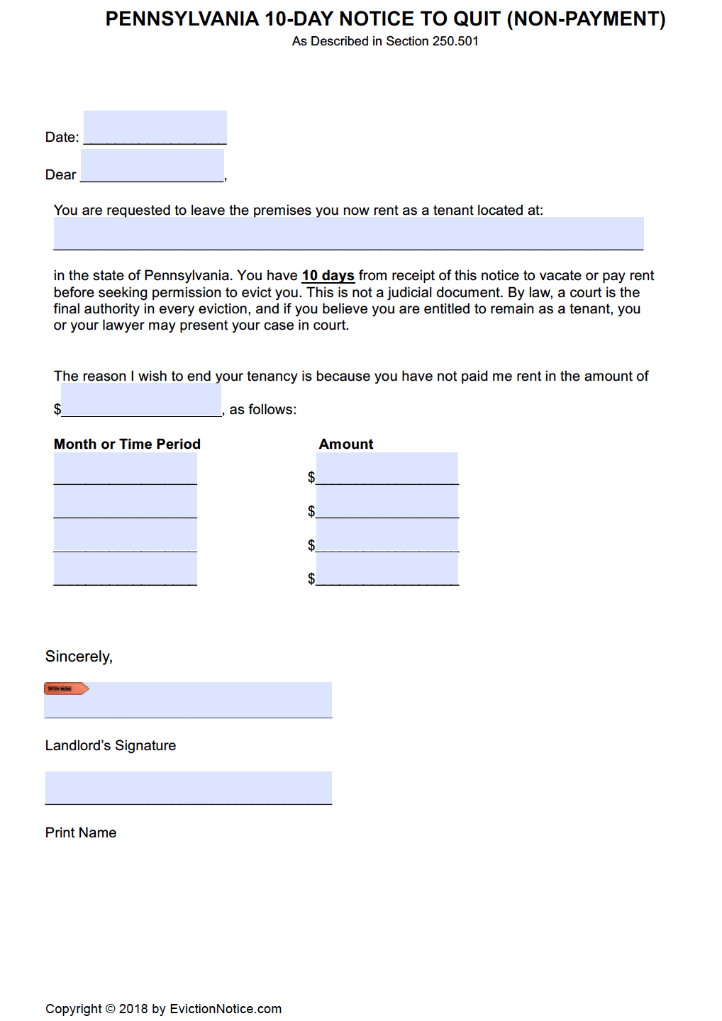free pennsylvania 10 day notice to pay or quit pdf