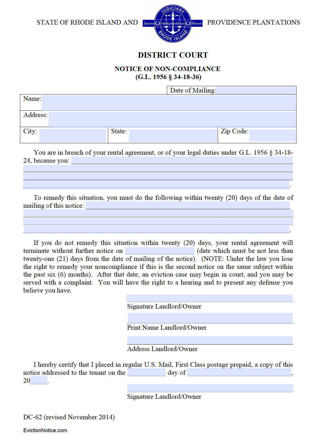 free rhode island 20 day notice to comply or quit