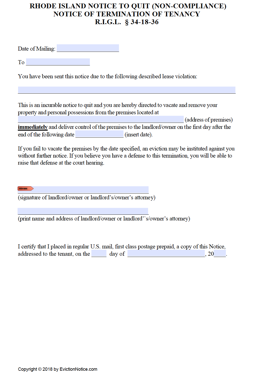 free rhode island immediate notice to quit pdf