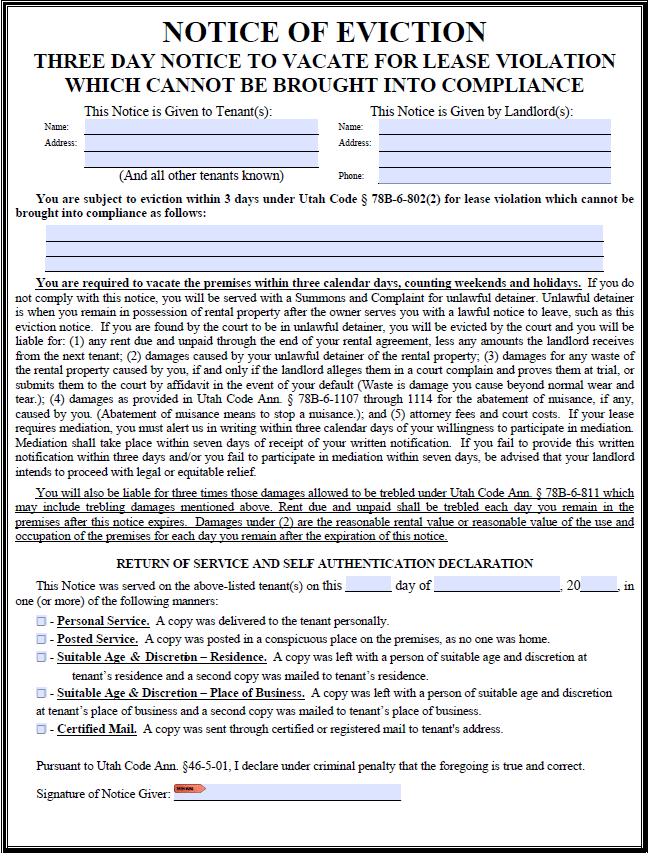 free utah 3 day notice to quit illegal activity pdf