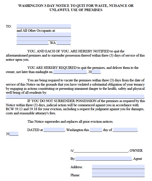 Free Washington 3 Day Notice To Vacate For Waste Nuisance Or Illegal Activity Pdf
