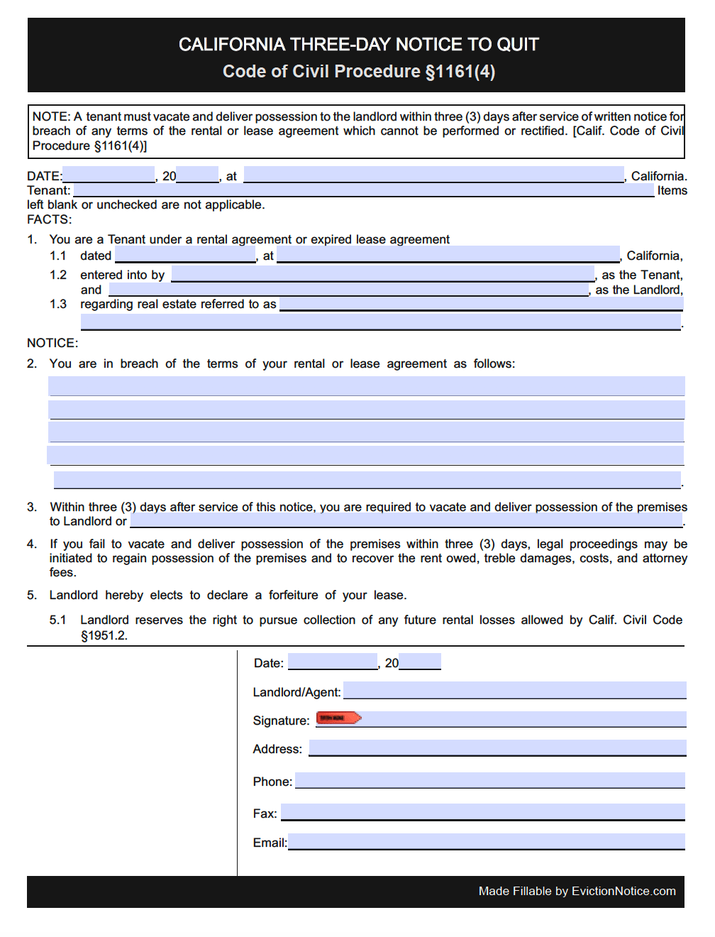 3 day notice to quit california pdf Free California 3 Day Notice to Quit   Illegal Activity   PDF