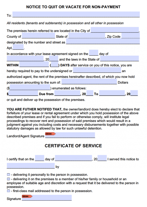 Free Eviction Notice to Pay or Quit Template – Free Eviction Letter Template
