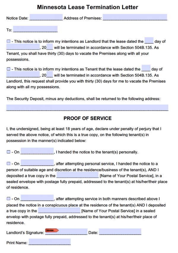 minnesota 30 day lease termination letter tenancy at will - Termination Letter For Tenant From Landlord