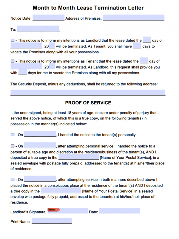 Lease Termination Letter Template | For Month to Month Tenancy