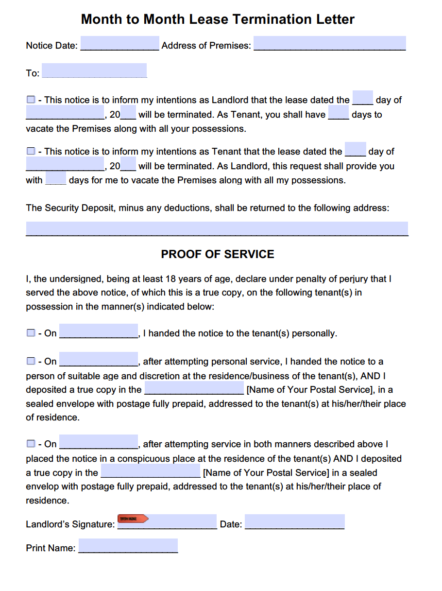Notice Of Lease Termination Letter From Landlord To Tenant Texas - Month to month lease termination letter template