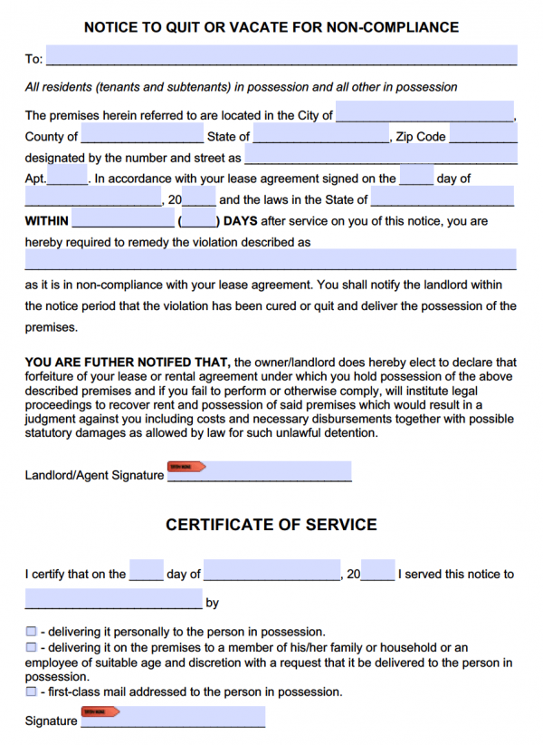 Eviction Notice to Comply or Quit Template | NonCompliance
